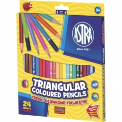 ASTRA Ergonomické trojhranné farbičky 24ks + strúhadlo, 312110003