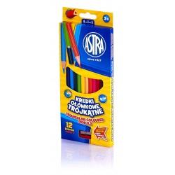 ASTRA Ergonomické trojhranné farbičky 12ks + strúhadlo, 312110002