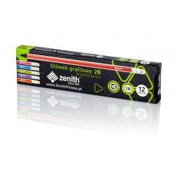ZENITH, Obyčajná ceruzka z čierneho dreva s gumou, tvrdosť 2B, krabička, 206012003