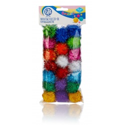 CREATIVO Plyšové POM POM guličky s leskom 40mm, mix farieb, 20ks, 335119019
