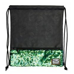 Luxusné koženkové vrecúško / taška na chrbát HASH®, Green Sequins, HS-135, 507019022