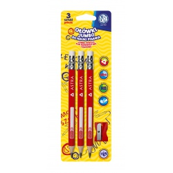 ASTRA, Ceruzka na nácvik písania JUMBO 3ks + strúhadlo, blister, 206119005