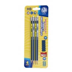 ASTRA 4x obyčajná HB ceruzka s gumou, strúhadlo + násadka, blister, 206120009