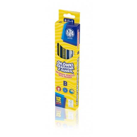 ASTRA Obyčajná ceruzka s gumou, tvrdosť B, krabička, 206120011