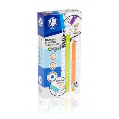 ASTRA OOPS! Gumovateľné pero 0,6mm, modré, dve gumy, mix farieb, krabička, 201120002