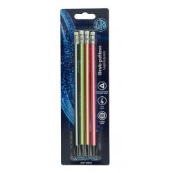 ASTRA, 4ks Obyčajná ceruzka z čierneho dreva s gumou, tvrdosť HB, blister, 206120017