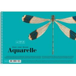 Akvarelový náčrtník SHKOLYARYK® A4, 20 listov, 220g/m2, mix motívov, 106020036