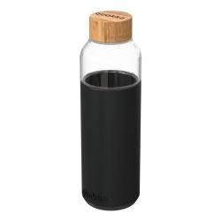 QUOKKA FLOW Sklenená fľaša so silikónovým povrchom BLACK, 660ml, 40007
