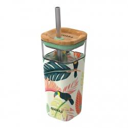 QUOKKA LIQUID-CUBE Sklenený pohár so silikónovým povrchom TOUCANS, 540ml, 40050