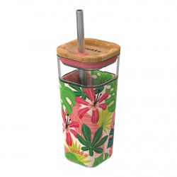 QUOKKA LIQUID-CUBE Sklenený pohár so silikónovým povrchom PINK JUNGLE, 540ml, 40051