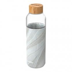 QUOKKA FLOW Sklenená fľaša so silikónovým povrchom WHITE STONE, 660ml, 40002