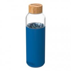 QUOKKA FLOW Sklenená fľaša so silikónovým povrchom WATER FLOWERS, 660ml, 40004