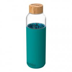 QUOKKA FLOW Sklenená fľaša so silikónovým povrchom PALM LEAVES, 660ml, 40005