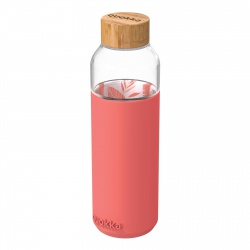 QUOKKA FLOW Sklenená fľaša so silikónovým povrchom PINK BOTANICAL, 660ml, 40006