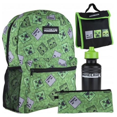 4 dielna súprava MINECRAFT - Športový batoh, peračník, fľaša, box na desiatu, 512020001