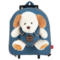 BE MY FRIEND, Detský denimový batoh na kolieskach s odnímateľnou hračkou PSÍK, 13034