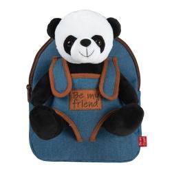 BE MY FRIEND, Detský denimový batoh s odnímateľnou hračkou PANDA, 13036