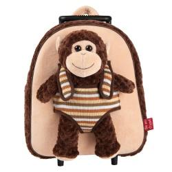 BE MY FRIEND, Detský plyšový batoh na kolieskach s odnímateľnou hračkou OPICA, 13039