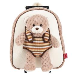 BE MY FRIEND, Detský plyšový batoh na kolieskach s odnímateľnou hračkou MEDVEDÍK, 13040