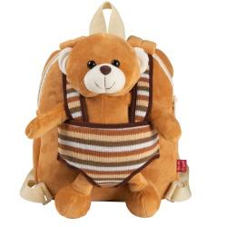 BE MY FRIEND, Detský obojstranný plyšový batoh s odnímateľnou hračkou MACKO, 13032