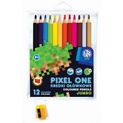 Školské  farbičky JUMBO 12ks + strúhadlo, MINECRAFT Pixel One, 312221005