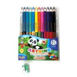 ASTRINO Školské trojhranné farbičky JUMBO 12ks/24farieb + strúhadlo, 312116003