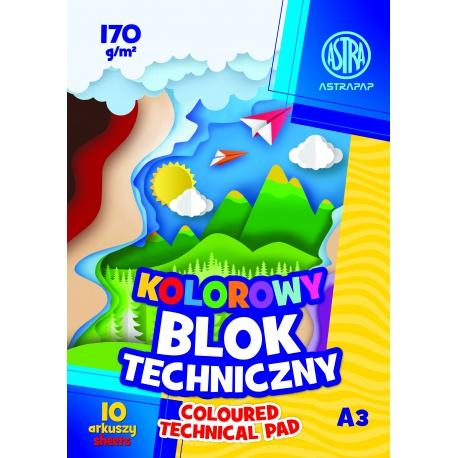 ASTRA farebné papiere  A3, 10 listov, 170g/m2, mix motívov, 106021010